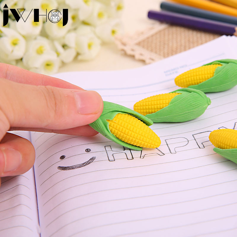 2 pcslot  Novelty Detachable corn shape rubber rubber eraser creative stationery school office supplies gifts for kids