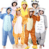 Adults Pajamas Hooded Autumn Winter Spring Sleepwear With Hooded Flannel Animal Stitch Panda Giraffe Cow Cartoon