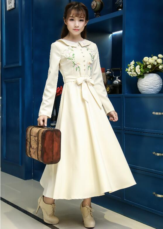 Free Shipping Vintage Style High Quality New Arrival Peter Pan Collar Button Decorated Embroidery Long Sleeve Woman Long Dress