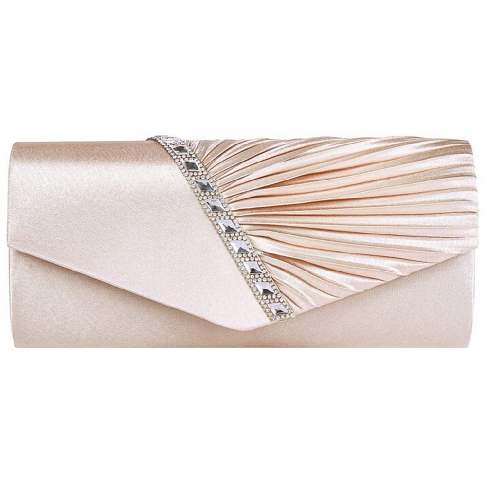 FGGS-Ladies Diamond Ruffle Party Prom Bridal Evening Envelope Clutch Bag, LY6682 Silver