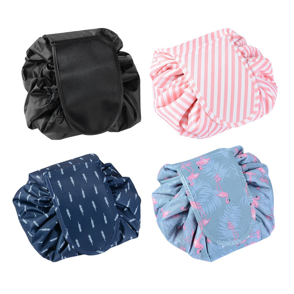 Korean Fashion Waterproof Large Capacity Quick Drawstring Makeup Jewelry Storage Bag Women Travel Cosmetic Bag Toiletry Tool Kit