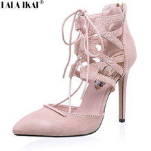 Gladiator Sandals Women Lace up High Heels Sandals for Women Summer Fashion Women Sandals 2016 Lace Up Sandalias Mujer XWC0396-5