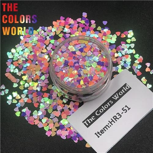 TCT-290 в форме сердца День Святого Валентина цвет блеск для ногтей художественное украшение макияж блеск для тела фестиваль DIY украшение аксессуар - Цвет: HR3-51    200g