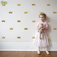 32pcs Princess Crown Vinyl Wall Stickers Kids Girl Bedroom Baby Room decoration Gold Silver removable art wallpaper Decor