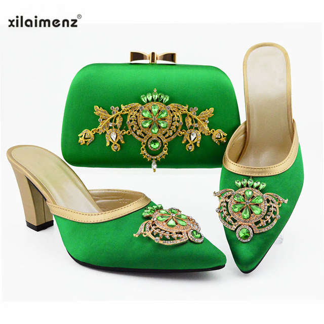 African Shoes With Matching Bags Set Italian Women's Party Shoes and Bag Sets Purple Color Women High Slipper And Handbag