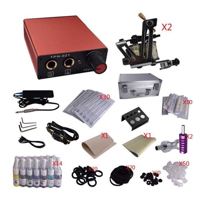 Tattoo & Body Art Permanent Tattoo Kit Mini Gun Rotary Machine Equipment sets +Ink +Power Supply +Needle + Case for Beginners