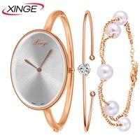 XINGW Brand Stainess Steel Dress Watches Girls Quartz Watch Bracelet Watch Ladies Women Crystal Round Wristwatch