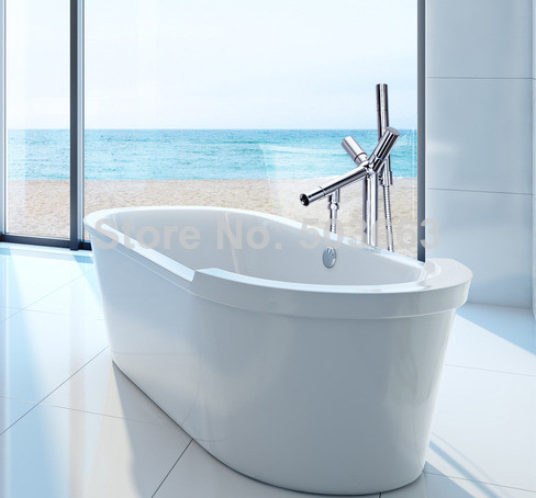 Bathroom Floor Standing Chrome Floor Mount Clawfoot Bath Tub Filler Faucet Handshower Free Standing Bathtub Faucet