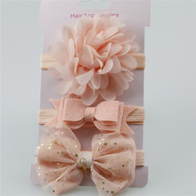 Распродажа; 3 шт.; эластичный Цветочный венок ободок для маленьких девочек и мальчиков; детская эластичная резинка для волос с бантом