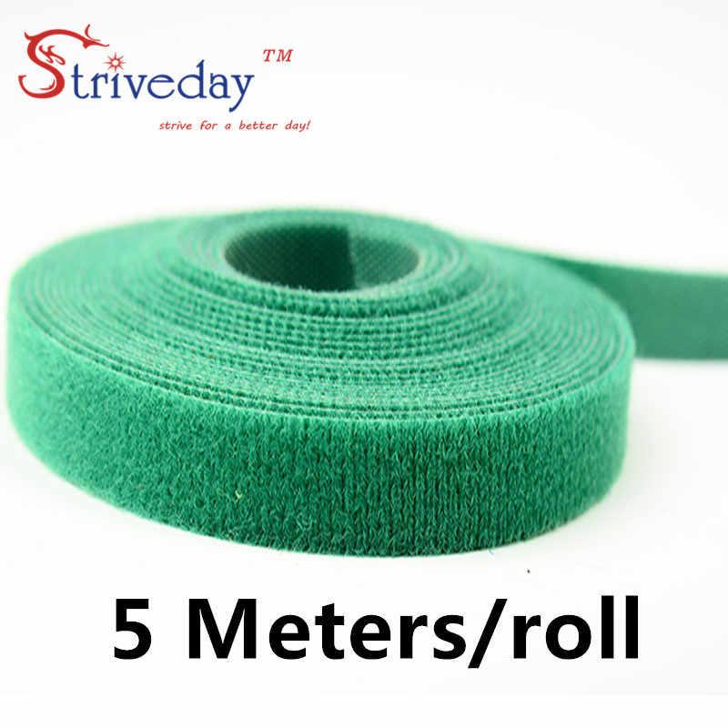 5 metros/rollo de cinta mágica sujetacables de nylon ancho 1 cm de alambre de cable lazos 6 colores a elegir de DIY de Velcro