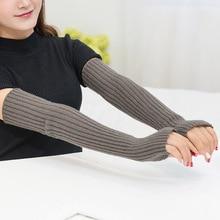 Зима Осень Длинные вязаные перчатки для женский из смеси хлопка перчатки без пальцев женские локоть варежки подарки Invierno Mujer