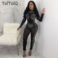 TolTolQ 2018 Autumn And Winter Flower Long Sleeve Perspective Long Jumpsuits Bling Sequined Diamond Playsuits O Neck Rompers