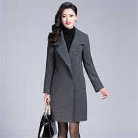 M 4Xl Plus Size Women Woolen Coat Double Breasted Slim Fit Femlae Autumn Wool Coats Solid