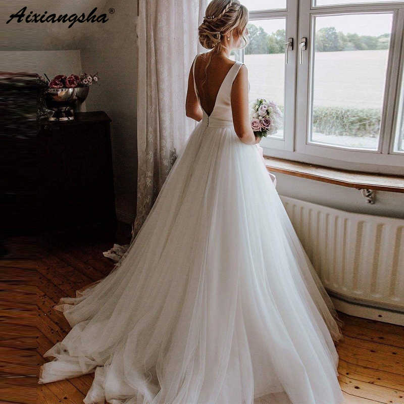 Alluring Wedding Dress 2019 Scoop A-line Sleeveless Bridal Dress Islamic Arab Wedding Dress Tulle vestidos de fiesta de n