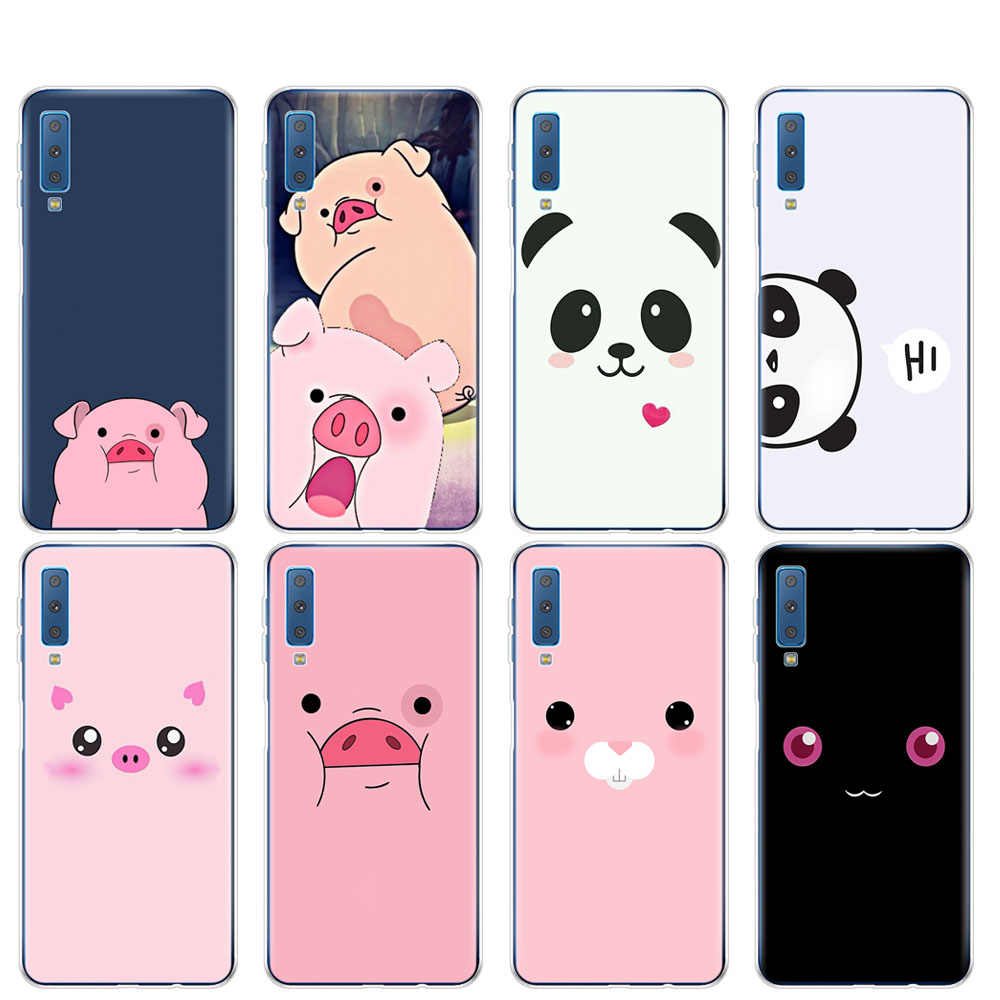 Case For Samsung A50 Case For Samsung Galaxy A50 A60 A10 A30 A40 A70 A 50  2019 A9 A7 2018 Cute Panda Pig Smile Emoji