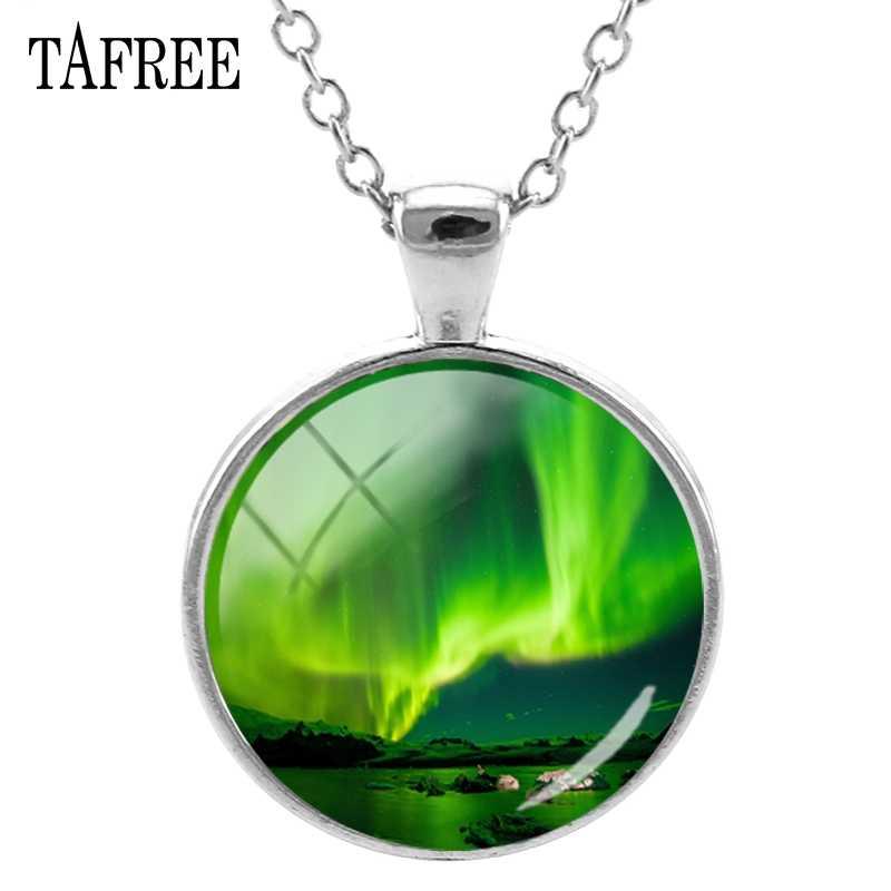 ... TAFREE Northern Lights Round Necklace Space Nebula Borealis Green Photo  Charm Handmade Necklace Women Jewelry QF652 ... 177429ba1c17