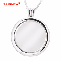 Compatible With European Jewelry Large Floating Locket Silver Necklace Original 100 925 Sterling Silver Jewelry DIY