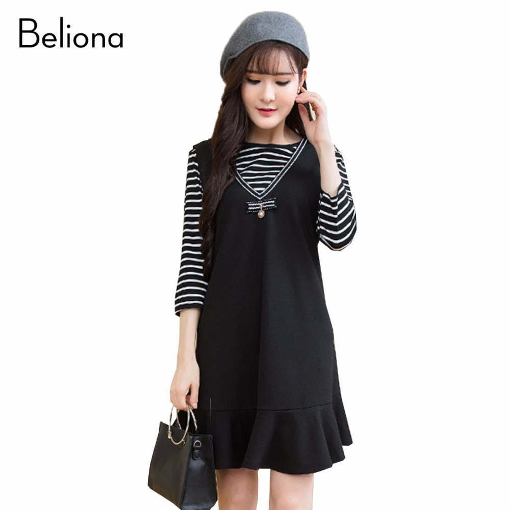 ⑤Two Pieces Stripe Maternity Dresses for Spring Loose Casual ...