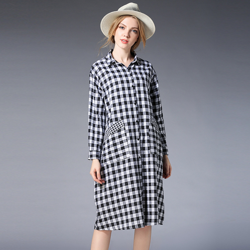 2018Spring Women Maternity Shirts/Clothes Long Plaid Pregnancy Tops Cotton Full Pregnant Shirt Dress Black Maternity T Shirt