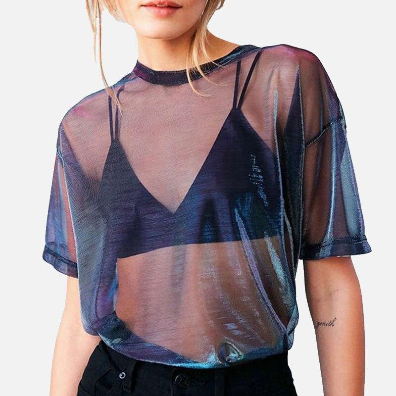 Women's Mesh Holographic Transparent Shirt Short Sleeve Shinny Blouses Female 2019 Summer Fashion O-neck Loose Woman Shirts Top