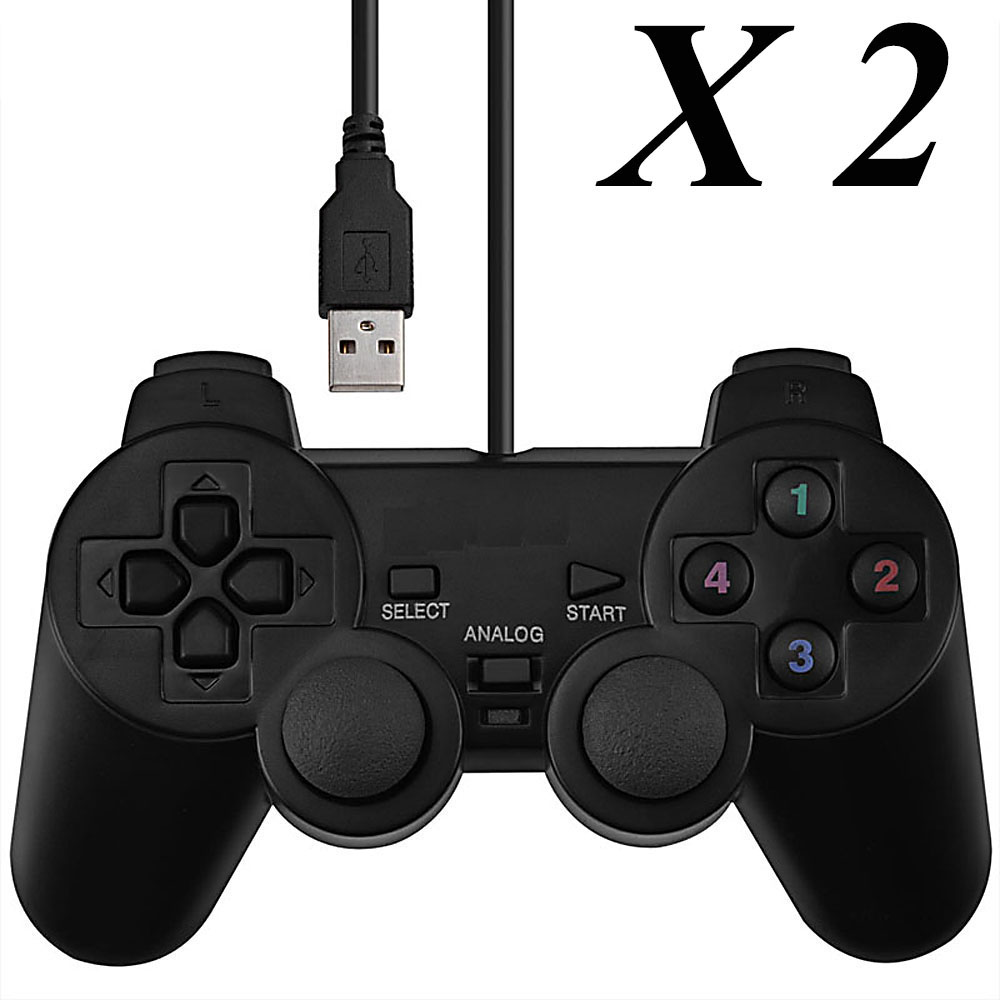 2 PCS Universal <font><b>Wired</b></font> <font><b>USB</b></font> <font><b>PC</b></font> <font><b>Gamepad</b></font> Dual Joystickz Controller Game Pad w/ <font><b>Double</b></font> Shock <font><b>Vibration</b></font> Function laptop&<font><b>PC</b></font>