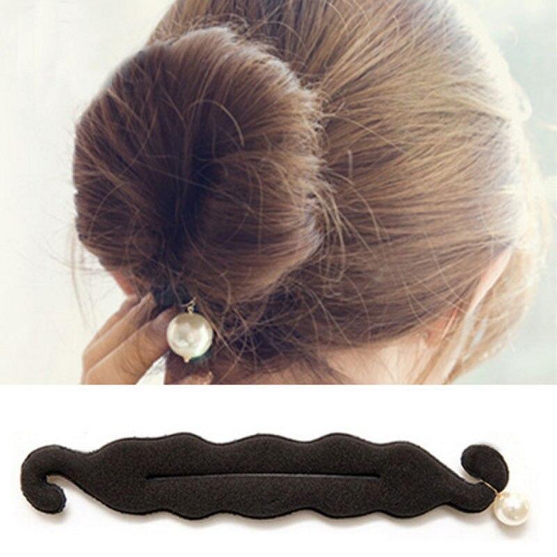 24cm Barrette Hair Ornaments Hair Accessories Women Magic Foam Sponge DIY Pearl Hair Bun Roller For Headwear FS2060