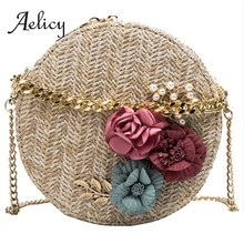 Aelicy Woven Rattan Bag Round Straw Shoulder Bag Flower Small Beach Bag Women Summer Handmade Chain Messenger Crossbody Bags(China)