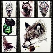 3D Sexy Wolf Waterproof Temporary Tattoo Body Art ARm Tatoo Women 21x15CM Men Fake Flash Water Transfer Black Tattoo Sticker Leg
