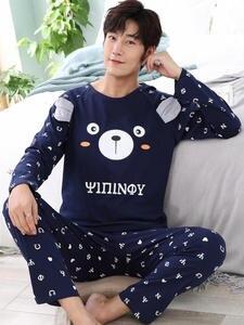 Men's Pajamas Lounge Long-Sleeve Home-Wear Winter Cotton New Autumn Letter Size-L-3xl