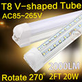 LED T8 integrated tube 20w 600mm 2000lm 110v 220v 85-265v Transparent Clear cover milky cover free shipping 2ft white SMD2835