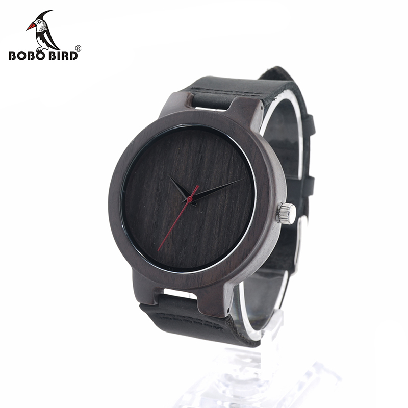 BOBO BIRD V-C22 Vogue Mens Quartz Watches Handmade Wooden Wristwatch With Black Leather Strap in Gift Box Horloges Mannen 2016