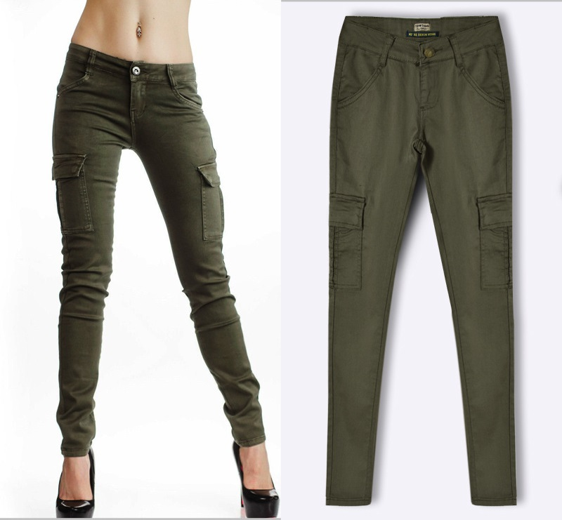Army Green Jeans Women 5