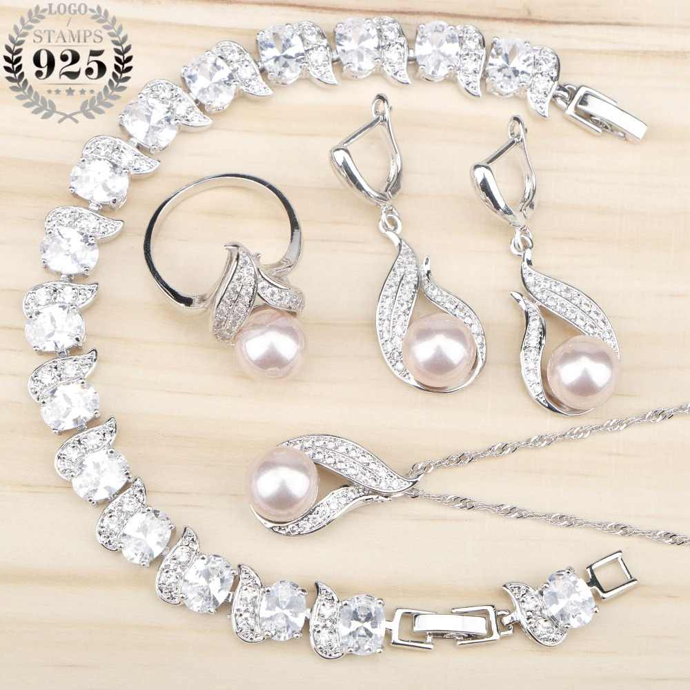 Women Costume Freshwater Natural Pearl 925 Silver Jewelry Sets White Zircon Bracelets Pendant&Necklace Rings Earrings Gift Box