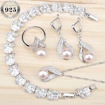 4aba326b30b4 Conjunto de joyas de plata 925 perlas naturales de agua dulce para mujer  pulseras de circonita blanca colgante y collar anillos caja de regalo