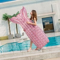 Big Mermaid Tail Sequin Swimming Float Air Mattress Giant Pool Summer Beach Party Inflatable Lounge Bed Adult Swim Ring Toys