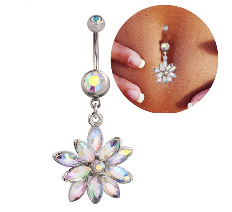 New high quality medical steel crystal rhinestone belly for Belly button jewelry store