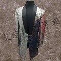 Высокой плотности яркие длинные пальто мужчины этап певица костюмы бар DJ песни трюк мужскую и женскую одежду