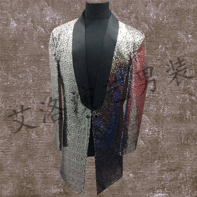 High-density bright in long coat male singer stage costumes bar DJ song stunt men and women clothing