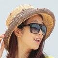 2016 Nueva Señora Sombrero de Sun Del Verano Sombrero de Paja de Las Mujeres Plegado de Ala Ancha Dom Casquillo Elegante Viajar Sombrero Nuevo Headwear B-1989