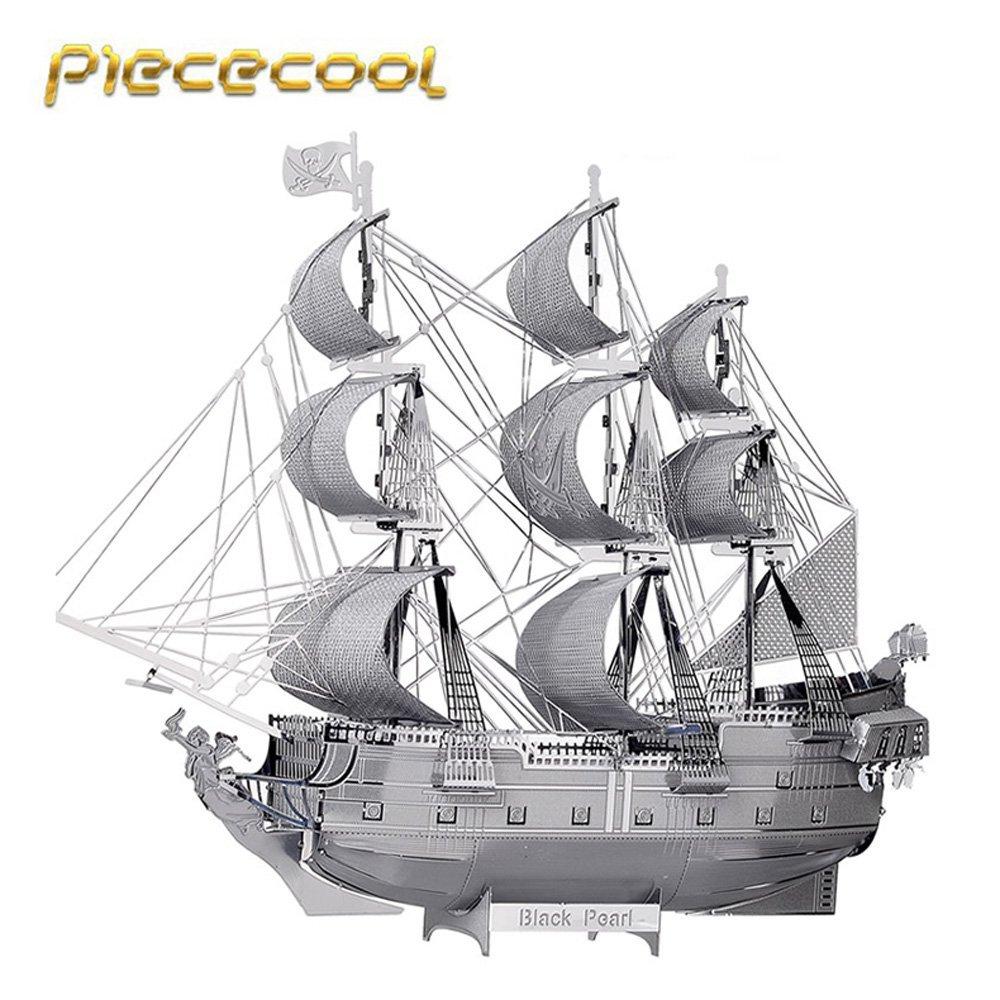 Original Piececool 3D Metal Assembling Puzzle Black Pearl Pirate Ship Model Kits P044 S DIY 3D