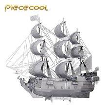 Eredeti Piececool 3D fém összeszerelő puzzle fekete gyöngy kalózhajó modellkészlet P044-S DIY 3D lézeres vágott összeszerelő kirakós játék