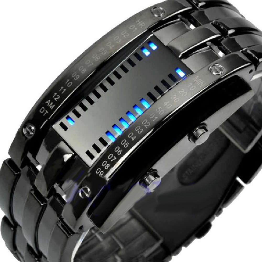 Stainless Steel LED Date Bracelet Watch Binary Wristwatch