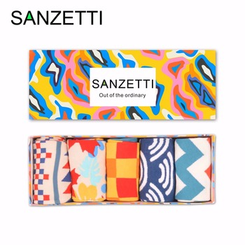 SANZETTI 5 pair/lot Gift Box Brand Men's Cotton Casual Socks Novelty Fashion Street Wear Colorful Funny Crew Skateboard Socks