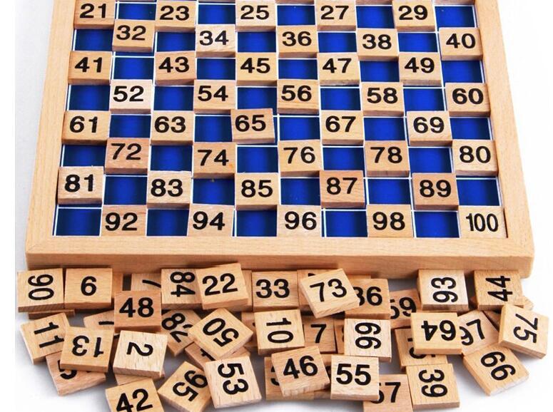1-100 tableau en bois numérique Montessori jouets mathématiques Montessori matériaux jouets éducatifs pour enfants tableau numérique Figure blocs jouet - 5