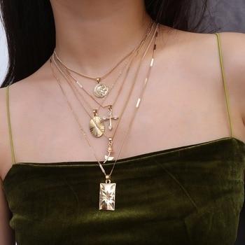 ebb16911bf4a Bohemia Color oro Cruz collar de capas Jesús cadena collares y colgantes