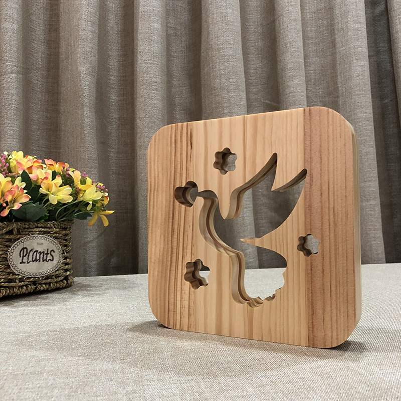 Creative Pigeon 3D Wooden Lamp Warm White LED USB Night Light Home Decoration Children Birthday Holiday Christmas Gift W3D-25 icoco usb rechargeable led magnetic foldable wooden book lamp night light desk lamp for christmas gift home decor s m l size