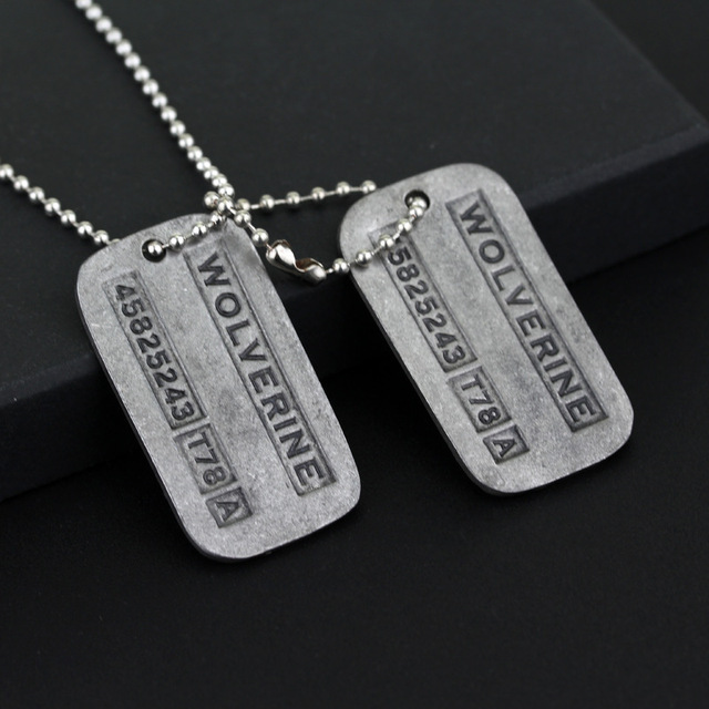 Anime Movie X-Men Logan Origins Two Dog Tag ID Necklace Zinc Alloy Marvel X Men Jame Logan Pendants Action Figure Cosplay Toys