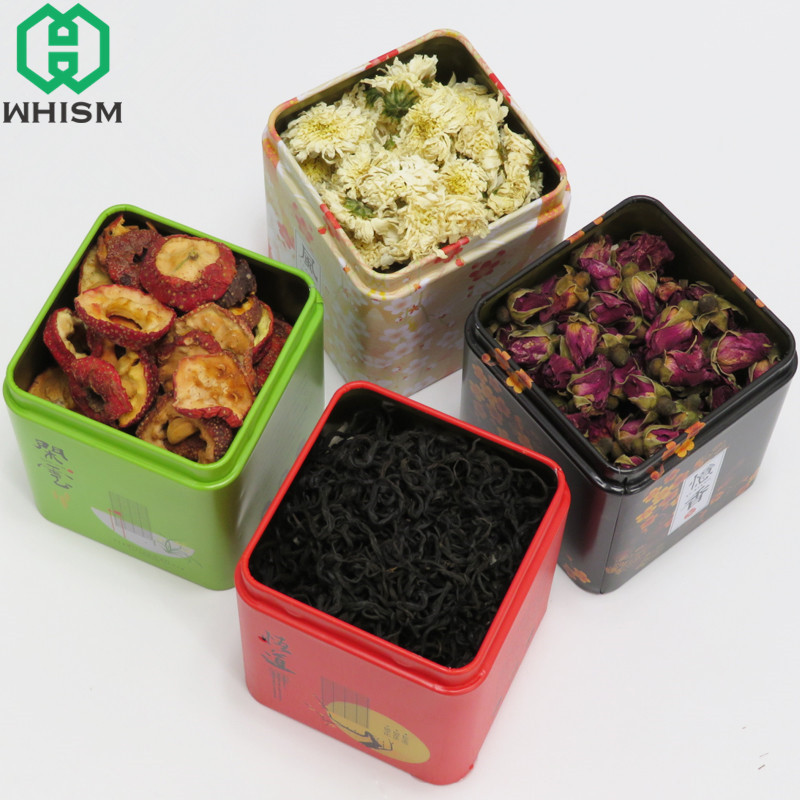 WHISM Vintage Tea Caddy Pastoral Candy Tin Mini Iron Storage Boxes Seal Coffee Powder Cans Tea Leaves Container Metal Organizer