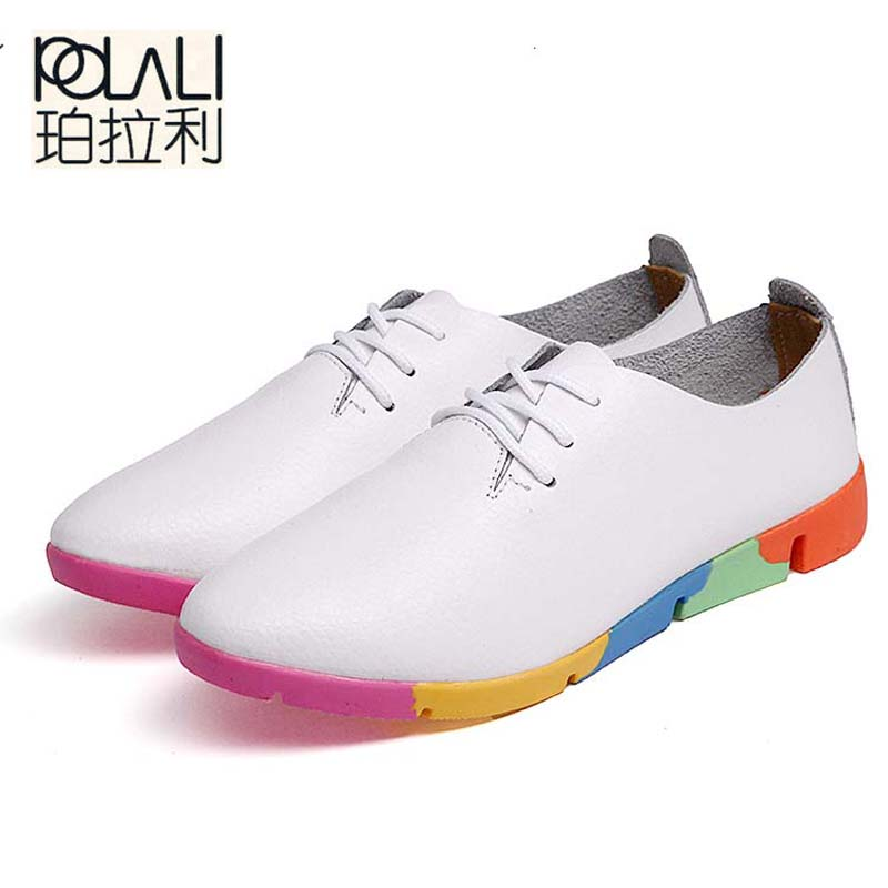 POLALI Autumn Spring New Lace Leather Women Flat White Shoes Pointed Deep Mouth Soft Bottom Leisure Flat Colorful Shoes Woman