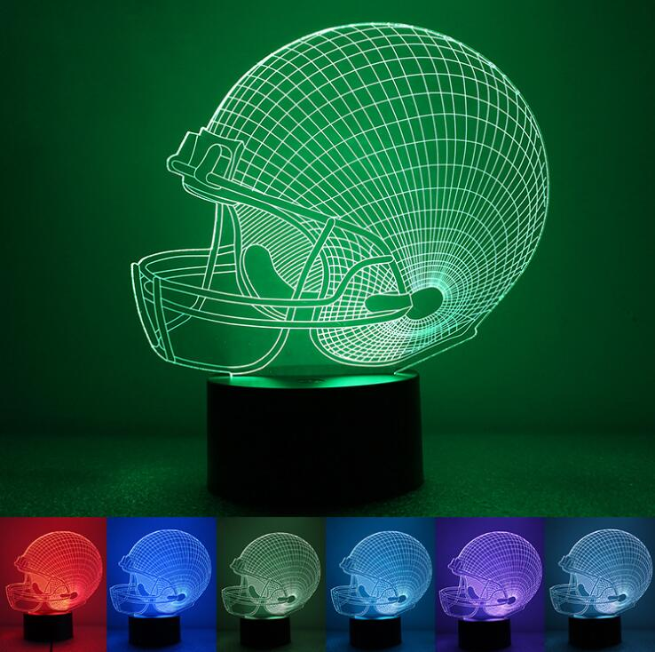 7Colors Lampara Football USB Novelty Pittsburgh Soccer Helmet RGB LED Night Light 3D Table Lamp Creative Home Decor Touch Lights